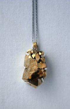 Gold quartz druzy necklace set in sterling silver - rocky. $99.00, via Etsy.