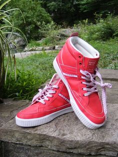 COOGI Fashion Sneakers, Red Leather Monaco Athletic Mid Top Sneaker Shoes, Sz 12 #Coogi #CasualSneakers