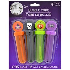 Halloween friends help create some bubbly-fun! Bubble tube caps have attached bubble wands and are decorated with skulls, spiders, jack-o-lanterns, and owls. An all-time favorite for children, bubbles