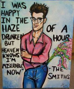 Oh, poor Morrissey!  This cartoonish portrait of the handsome brooding singer is rendered in acrylic on a canvas.   Measures 16x20