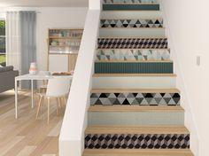 Créez un style graphique avec des papiers peints géométriques sur les contre-marches
