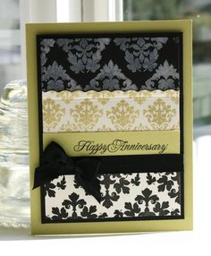 Damask Anniversary Card...Papertrey Ink Forum. Use perfect pearls and versamark on top row.