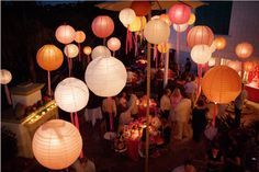 chinese lanterns, wedding decoration, chinese lanterns with streamers