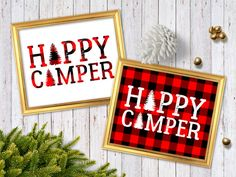 "Merry and bright ""Happy Camper"" ! Plaid Nursery, Nursery Decor, Rv Camping Checklist, Camping Tips, Camper Signs, Remodeled Campers, Plaid Christmas, Happy Campers, Buffalo Plaid"