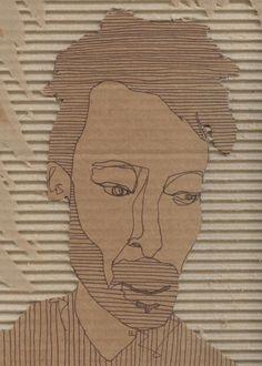lizlaribee - Paint and Pen - Cardboard Portraits Year 7 portraiture.