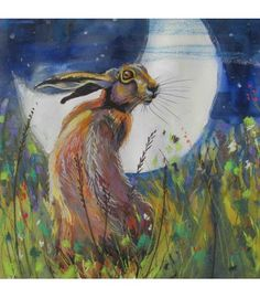 Hare and Moon card is from an original painting by Annabel Langrish. Irish Art, Dream Art, Shape And Form, Watercolor Illustration, Watercolour, Hare, Celtic, Original Paintings, Moose Art