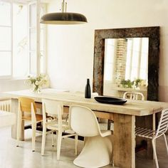 Rustic Dining Room Sets For Sale Mixed Dining Chairs, Dining Room Sets, Dining Room Chairs, Dining Tables, Dining Area, Mismatched Chairs, Rustic Wall Mirrors, Large Mirrors, Living Room Mirrors