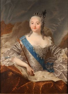 Elizaveta Pretrovna, also known as Yelisaveta and Elizabeth was Empress of Russia and Autocrat of all the Russias from 1741 until her death in (b. She was the daughter of Peter I and Catherine I of Russia. Portrait by Grooth (Grigoriants' coll. Adele, Catherine The Great, Court Dresses, Imperial Russia, Portrait Art, Portraits, Silver Dress, King Queen, European Fashion