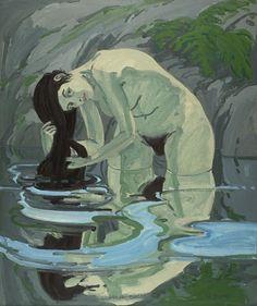 """Grey Bather,"" Neil Welliver, 1967, oil on canvas, 62 1/8 x 52 1/8"", Hirshhorn Museum and Sculpture Garden, Smithsonian Institution."