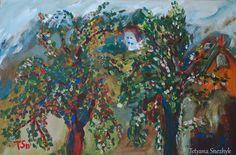 Apple trees at the village - Tetyana Snezhyk painting