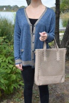 Project Two Toned Cardigan | S, M, L, XL 50% Linen, 50% Silk | Primary View | Tangerine Boutique