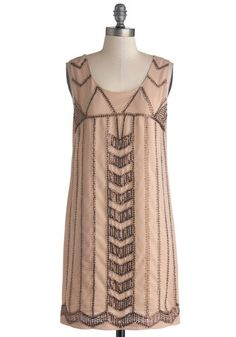 Quite Copacetic Dress - Sheer, Woven, Mid-length, Tan / Cream, Sequins, Cocktail, Sheath / Shift, Tank top (2 thick straps), Better, Scoop, ...