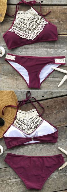 Live life on the beach~ Over in our Cupshe Blooming Above Lace Halter Bikini Set and hit the fantastic summer all the time!