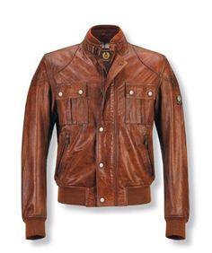 Irthing Leather Bomber Jacket in Iris Blue | Bomber jacket