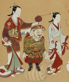 Daikoku with Courtesan and child attendant. Main detail of hanging scroll,; ink and color on paper. 1716-1736, Japan, by artist Hirose Shigenobu. MFA (William Sturgis Bigelow Collection)