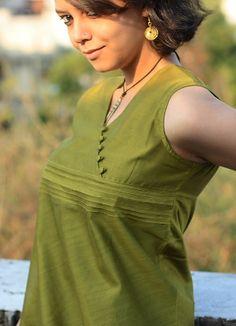 indigenecraft.com | Chanderi Angrakha Top With Yoke Detailing