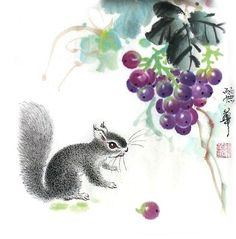 Chinese Grape grape x x Painting. Buy it online from InkDance Chinese Painting Gallery, based in China, and save Grape Painting, Sumi E Painting, Artist Painting, Watercolour Painting, Japanese Painting, Chinese Painting, Japanese Art, Chinese Brush, Chinese Art