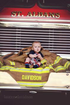 Baby firefighter - fireman photo. Lauren Davidson Photography.