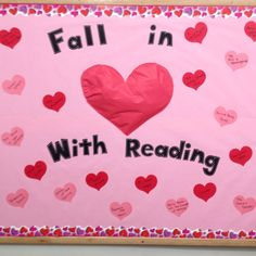 """My Valentines Day bulletin board for Kids @ 1st except say """"Fall in Love with Jesus""""????"""