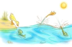 Diane Gronas Illustration Duck & Fish opposites - Duck is up, Fish is down, fish jumps out and in again.