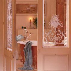 etched glass doors pretty bathroom
