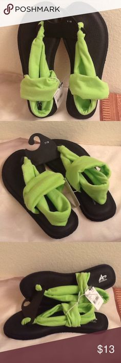 Comfortable Cloth Strap Sandals Like going barefoot.  Lime green cloth bands holds foot in place.  Padded top sole for comfort. Athletech Shoes Sandals