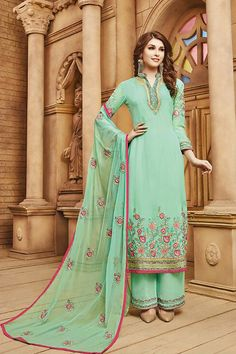 Buy Green Georgette Salwar Suit from Like A Diva.    #likeadiva #salwarsuits #salwarkameez #designersalwarsuits #salwarsuitsonline #salwarkameezonline #designersalwarkameez #anarkalisalwarkameez #churidarsuits #fashion #style #AsianPartyWear #IndianOutfit