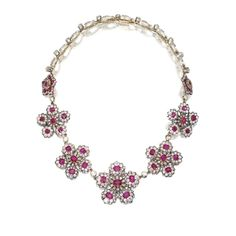 FROM THE ESTATE OF EUNICE JOYCE GARDINER Silver-Topped Gold, Platinum, Ruby and Diamond Necklace, Circa 1870-1900