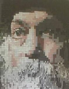 Osho - Painted Wood Mosaic by Sureel Kumar at SureelArt. Made with poplar wood pieces, plywood and oil paints in 2014 at Giddarbaha, Punjab, India Wood Mosaic, Wood Pieces, Osho, Painted Wood, Plywood, Painting On Wood, India, Artwork, Work Of Art