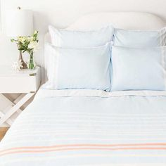 Bedroom inspiration and bedding decor   The Webster Sky Blue Duvet Cover   Crane and Canopy