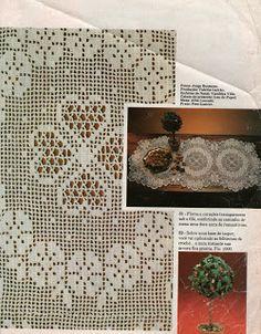 toalhinha de crochet filet com gráfico - flores e corações 1 of 3