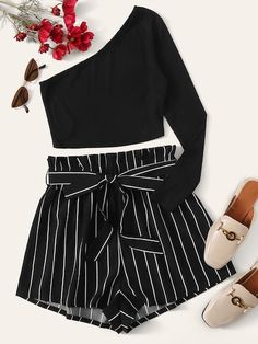 Shein One Shoulder Top Paperbag Waist Striped Shorts Set Really Cute Outfits, Cute Lazy Outfits, Crop Top Outfits, Pretty Outfits, Stylish Outfits, Teenage Outfits, Two Piece Outfits Shorts, Emo Outfits, Girls Fashion Clothes