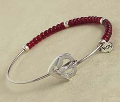 """Confirmation Beaded Bangle Bracelet (22641) - Burgundy red and silver beads on a wire bracelet with a small """"faith"""" charm and a unique heart and dove closure."""