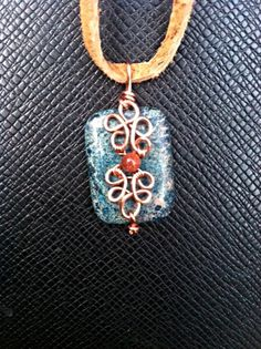 Blue Jasper design wire wrap necklace by creationsake on Etsy