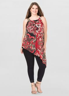 5629096ee32 Printed Asymmetrical Halter Top-Ashley Stewart-035-W213906HGP