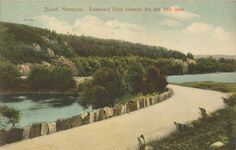 Duluth, Minnesota - Boulevard Drive between two little lakes. Postcard c1910