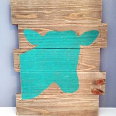 Teal Cow - DIY Home Decor wood pallet projects featuring Jillibean Soup Mix the Media wood plank surfaces