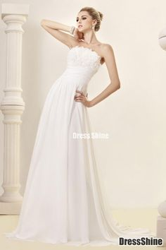 Charming A-line Strapless Chiffon Sweep Train Wedding Dress