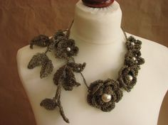 Sprig of Flowers Pearls linen Crochet by GreyHeartOfStone f8baacd150c
