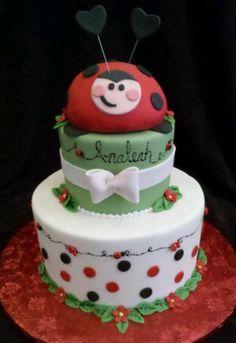 Lady bug birthday cake  www.wbcustomcakes.com