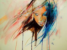 Indian summer by *happytrouble on deviantART.  Portrait with watercolor and acrylics
