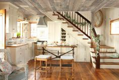 Farmhouse kitchen...love the grey wood ceiling ~
