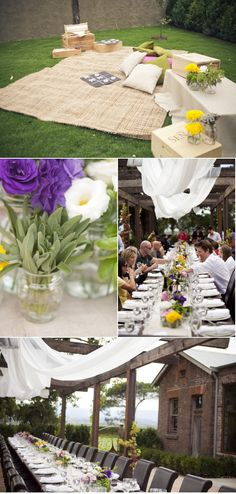 Picnic with burlap accents and mason jar floral; lambs' ear would make a cute and chic addition to centerpieces