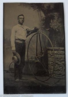 Antique-Victorian-MAN-w-Straw-BoaterSkimmer-HAT-HIGH-WHEEL-BICYCLE-Tintype-Photo