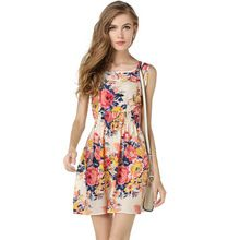 4efffd49482 19 Styles EU USA Brand Design Women s Chiffon Dress Fashion Sweet Girls  Flower Dot Striped Print Sleeveless Dresses Beach Dress