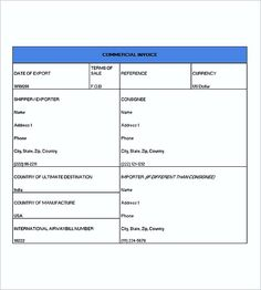 Export Commercial Invoice Templates Pdf  Commercial Invoice