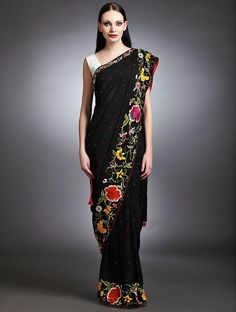 Buy Black Parsi Gara Jacquard Georgette Saree Online at Jaypore.com