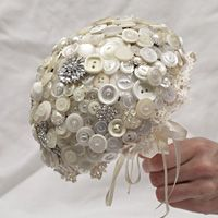 Cream and diamante button bouquet