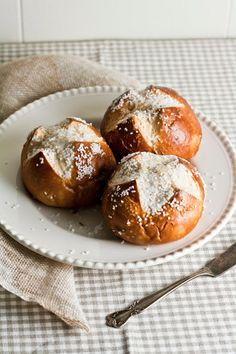 Soft Pretzel Bread Buns. Replace butter and whole milk to veganize!