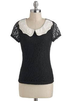 Wednesday I'm in Love Top - Sheer, Mid-length, Black, White, Solid, Lace, Peter Pan Collar, Work, Vintage Inspired, Short Sleeves